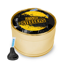 Let's Go Steelers Medium Gold Plastic Tin - 30 Black Hershey's Kisses