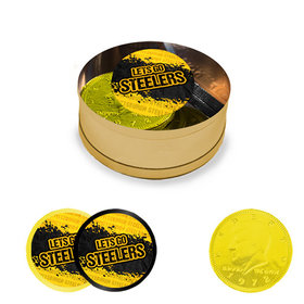 Let's Go Steelers Milk Chocolate Coins in Small Gold Plastic Tin (12 Coins w/ stickers)