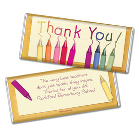 Teacher Appreciation Personalized Chocolate Bar Wrappers Crayon