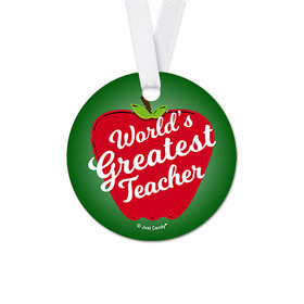 Round Big Apple Teacher Appreciation Favor Gift Tags (20 Pack)