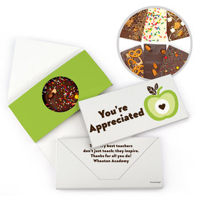 Personalized Teacher Appreciation One Cool Apple Gourmet Infused Belgian Chocolate Bars (3.5oz)