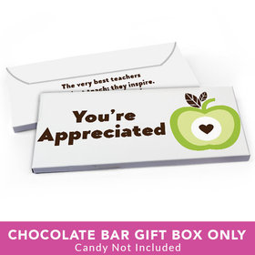 Deluxe Personalized Teacher Appreciation One Cool Apple Candy Bar Favor Box