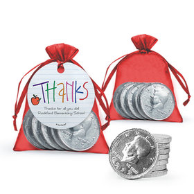 Personalized Teacher Appreciation Doodle Milk Chocolate Coins in Organza Bags with Gift Tag