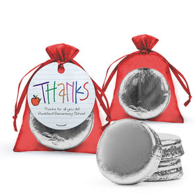 Personalized Teacher Appreciation Doodle Milk Chocolate Covered Oreo in Organza Bags with Gift Tag