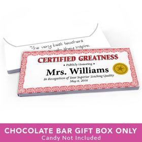 Deluxe Personalized Teacher Appreciation Certified Greatness Candy Bar Favor Box
