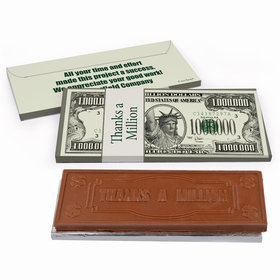 Deluxe Personalized Business Thank You Thanks A Million Chocolate Bar in Gift Box
