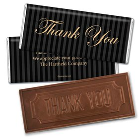 Business Thank You Personalized Embossed Chocolate Bar Formal Gold & Pinstripes
