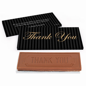 Deluxe Personalized Business Thank You Pinstripes Chocolate Bar in Gift Box