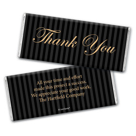 Business Thank You Personalized Chocolate Bar Wrappers Formal Gold & Pinstripes