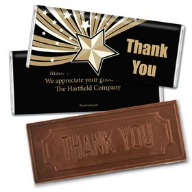 Business Thank You Personalized Embossed Chocolate Bar Gold Stars