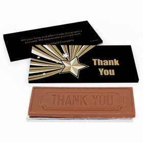 Deluxe Personalized Business Thank You Gold Star Chocolate Bar in Gift Box