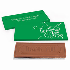 Deluxe Personalized Business Thank You Script Chocolate Bar in Gift Box