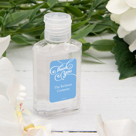 Personalized Hand Sanitizer Thank You Swirls 2 fl. oz bottle