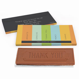 Deluxe Personalized Business Thank You Multi Language Chocolate Bar in Gift Box