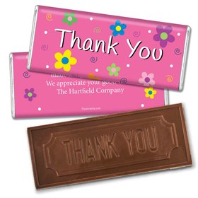 Thank You Personalized Embossed Chocolate Bar Daisies