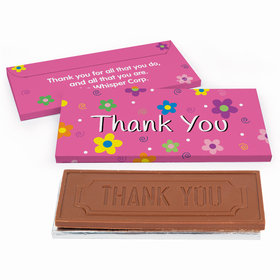 Deluxe Personalized Business Thank You Flowers Chocolate Bar in Gift Box