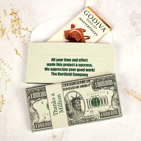 Deluxe Personalized Business Thanks a Million Godiva Chocolate Bar in Gift Box