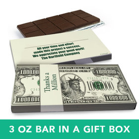 Deluxe Personalized Thanks a Million Belgian Chocolate Bar in Gift Box (3oz Bar)