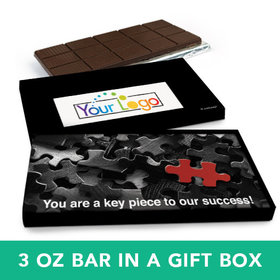 Deluxe Personalized Business Puzzle Key Piece Logo Belgian Chocolate Bar in Gift Box (3oz Bar)