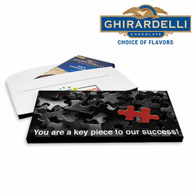 Deluxe Personalized Business Key Piece Logo Ghirardelli Chocolate Bar in Gift Box
