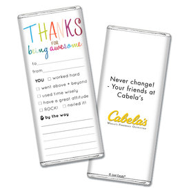 Personalized Thank You For Being Awesome Chocolate Bar Wrappers Only