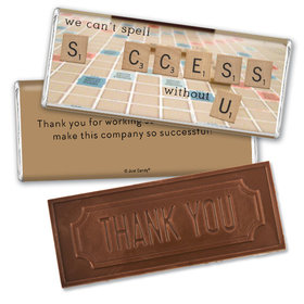 Personalized Thank You Scrabble Success Embossed Chocolate Bar & Wrapper