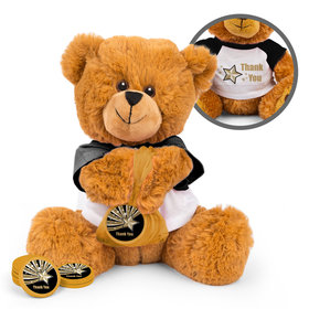 Personalized Thank You Gold Star Teddy Bear with Chocolate Coins in XS Organza Bag