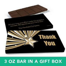 Deluxe Personalized Business Thank You Gold Star Belgian Chocolate Bar in Gift Box (3oz Bar)