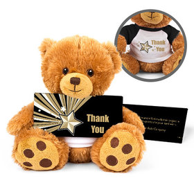 Personalized Business Gold Star Teddy Bear with Embossed Chocolate Bar in Deluxe Gift Box