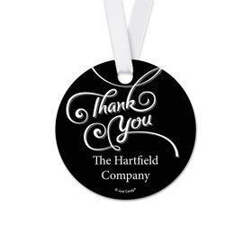 Personalized Round Thank You Scroll Favor Gift Tags (20 Pack)