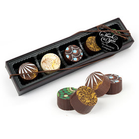 Personalized Thank You Swirls Gourmet Chocolate Truffle Gift Box (5 Truffles)