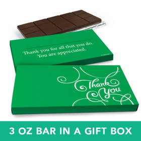 Deluxe Personalized Business Thank You Scroll Belgian Chocolate Bar in Gift Box (3oz Bar)