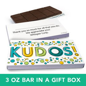 Deluxe Personalized Business Kudos Belgian Chocolate Bar in Gift Box (3oz Bar)
