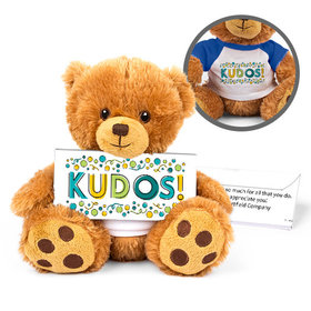 Personalized Business Kudos Teddy Bear with Embossed Chocolate Bar in Deluxe Gift Box