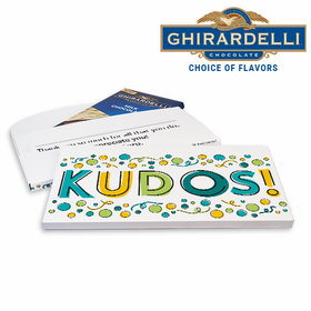 Deluxe Personalized Business Kudos Ghirardelli Chocolate Bar in Gift Box