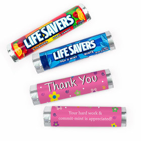 Personalized Thank You Flowers Lifesavers Rolls (20 Rolls)