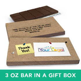 Deluxe Personalized Business Add Your Logo Belgian Chocolate Bar in Gift Box (3oz Bar)