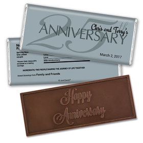 Anniversary Party Favors Personalized Embossed Chocolate Bar 25th Anniversary Chocolate Favor