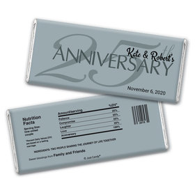 Anniversary Personalized Chocolate Bar Wrappers 25th Anniversary Chocolate Favor