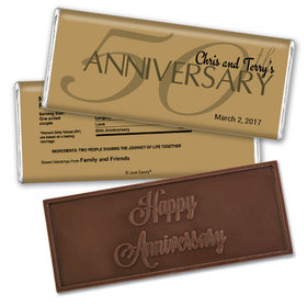 Anniversary Party Favors Personalized Embossed Chocolate Bar 50th Anniversary Chocolate Favor