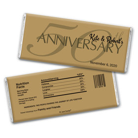 Anniversary Personalized Chocolate Bar Wrappers 50th Anniversary Chocolate Favor