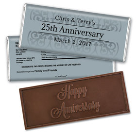 Anniversary Personalized Embossed Chocolate Bar 25th Fleur de Lis Gilded