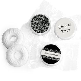 Anniversary Personalized Life Savers Mints Silver 25th Fleur de Lis Gilded
