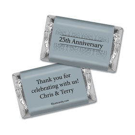 Anniversary Personalized Hershey's Miniatures Wrappers Silver 25th Fleur de Lis Gilded