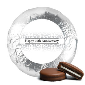 Anniversary Chocolate Covered Oreos Silver 25th Fleur de Lis Gilded (24 Pack)