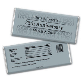Anniversary Personalized Chocolate Bar Silver 25th Fleur de Lis Gilded