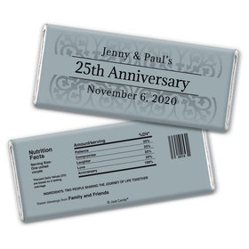 Anniversary Personalized Chocolate Bar Wrappers Silver 25th Fleur de Lis Gilded