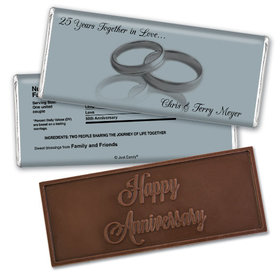 Anniversary Personalized Embossed Chocolate Bar Gilded Rings 25th
