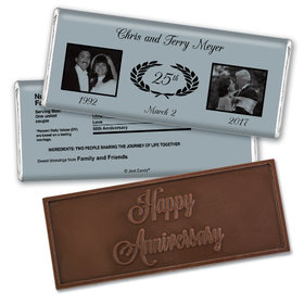 Anniversary Personalized Embossed Chocolate Bar Gilded Fleur de Lis Silver 25th