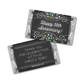 Anniversary Personalized Hershey's Miniatures Wrappers Flowers & Scrolls